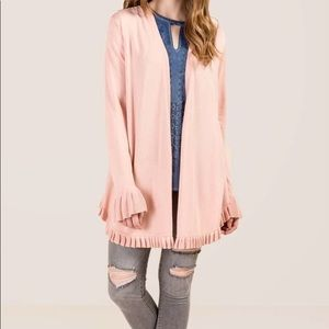 Francesca's DOLLY RUFFLE TRIM CARDIGAN